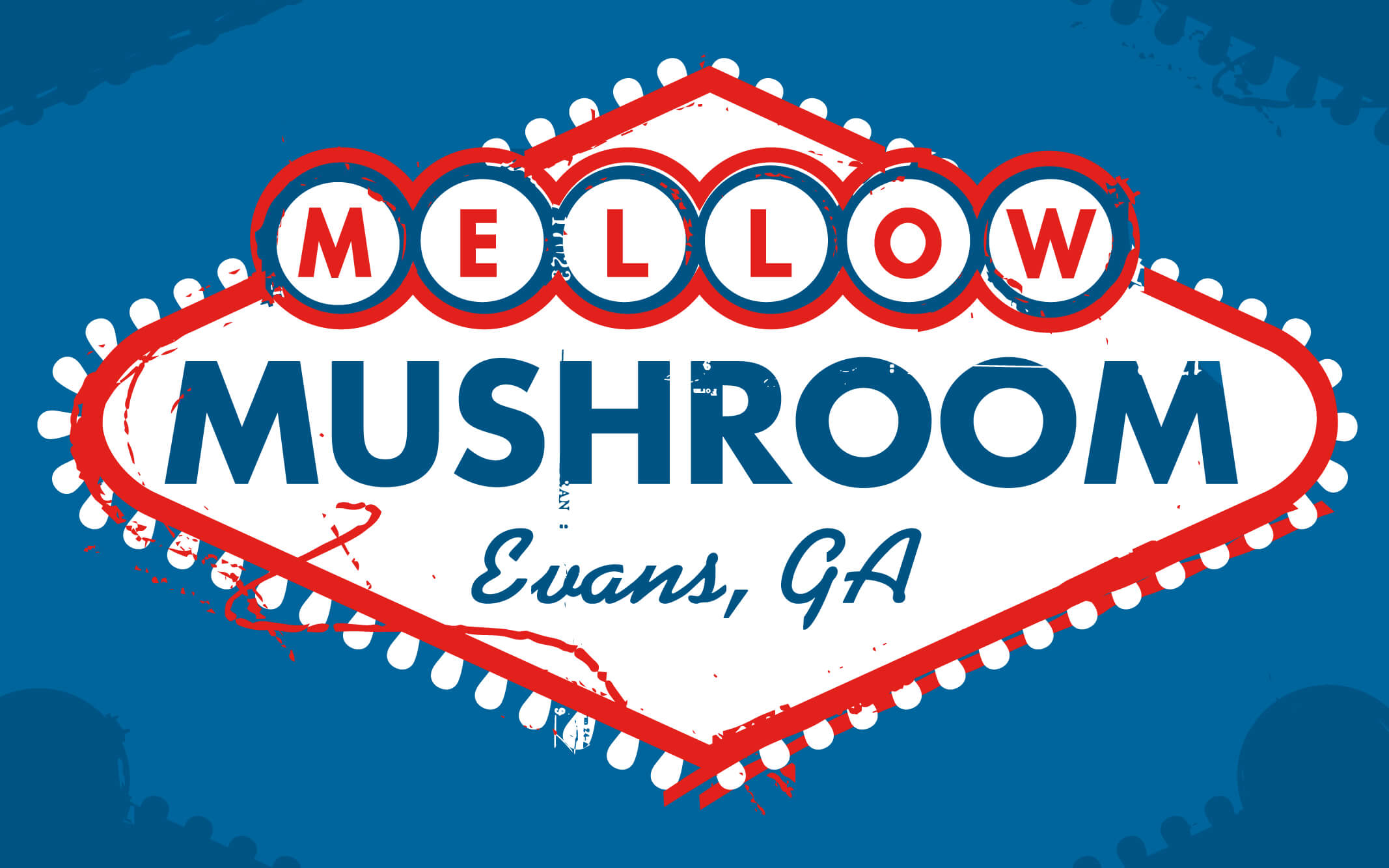 Mellow Mushroom Evans unique store logo design