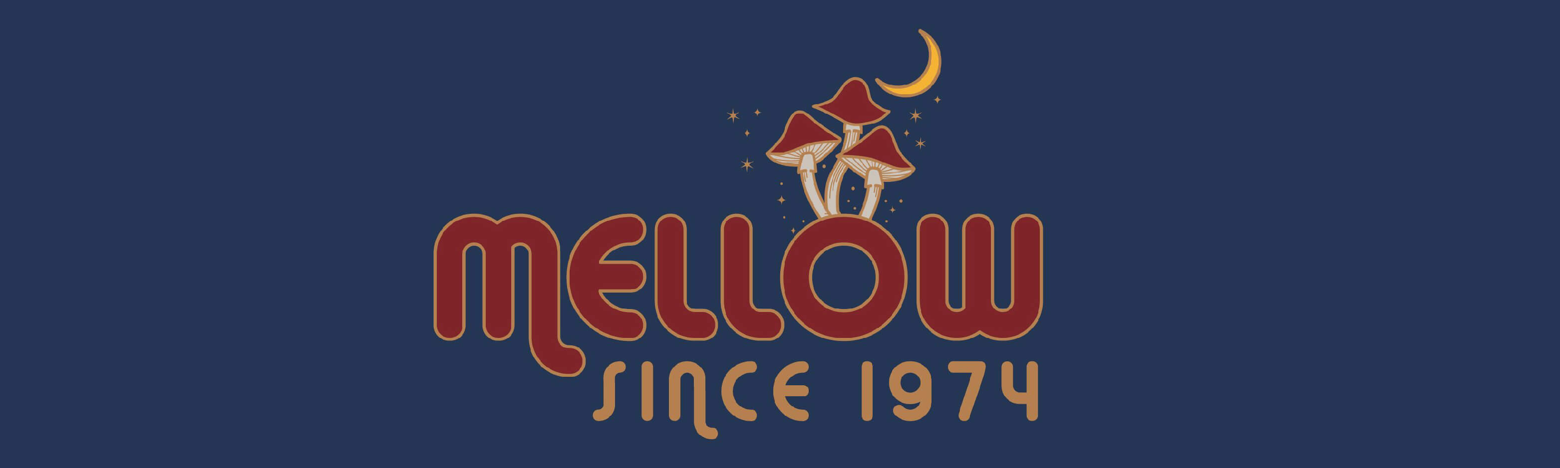 Generic mellow banner blue background since 1974