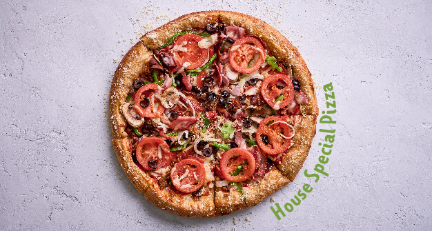 Generic Mellow Mushroom landing page house specialty pizza