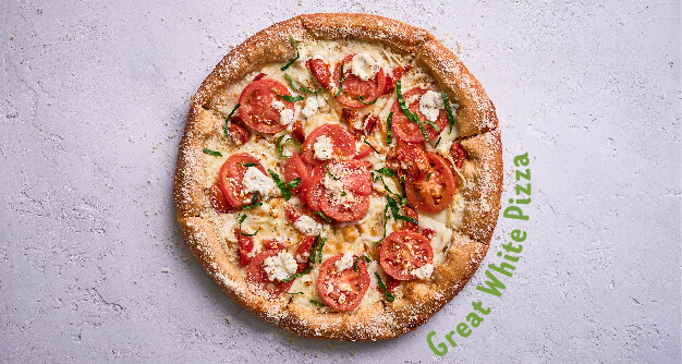 Generic Mellow Mushroom landing page great white pizza