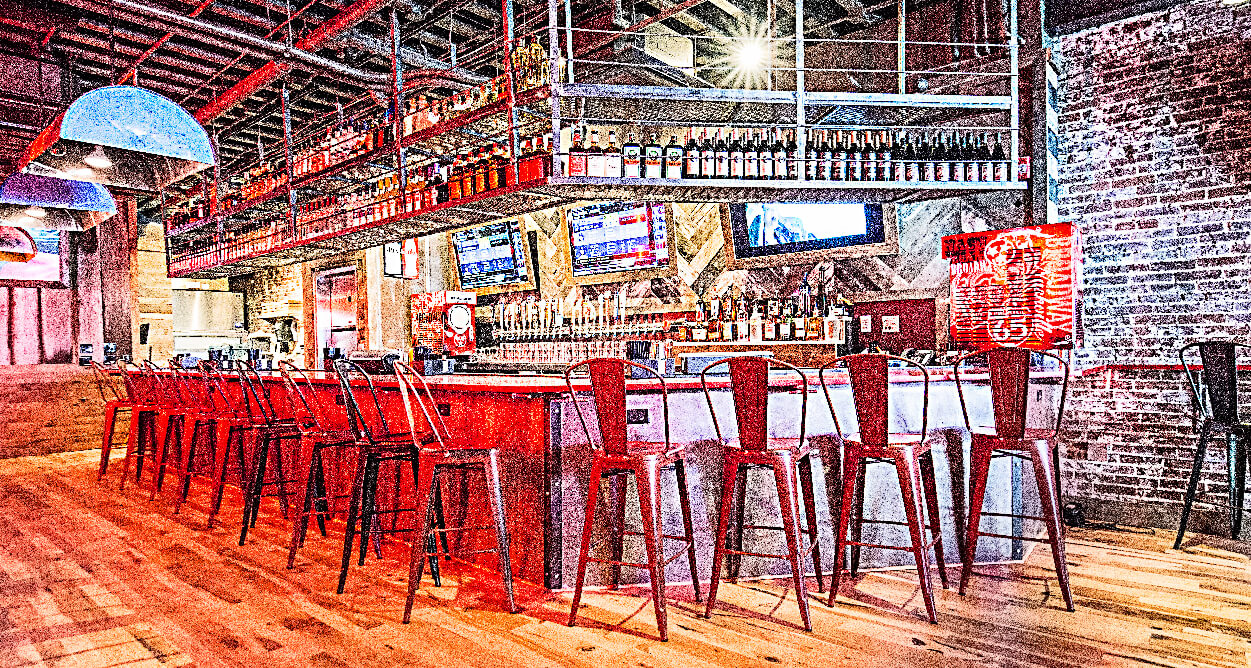 Mellow Mushroom Nashville – Broadway Downtown Whole Bar metal high top chairs