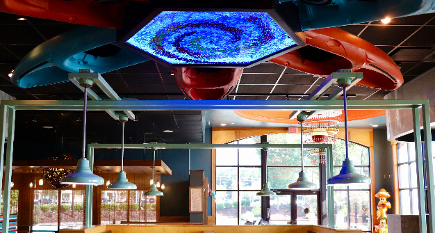 Mellow Mushroom Acworth feature art ceiling booth tops