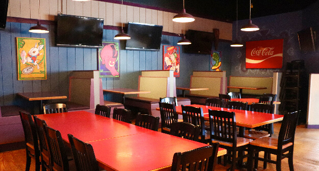 Mellow Mushroom Brookhaven dining table wall painings
