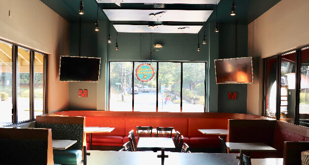 Mellow Mushroom Buckhead main dining tables and booths