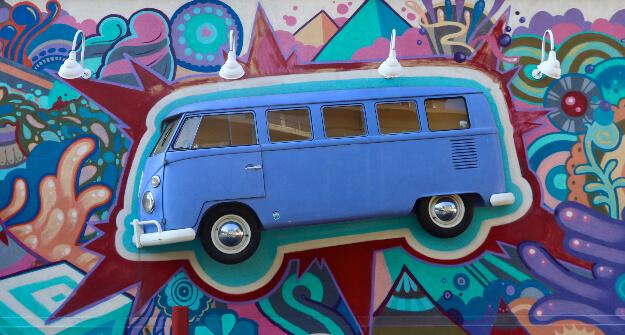 Mellow Mushroom Buckhead mural art bus