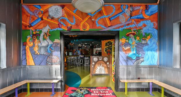 Mellow Mushroom Burlington entry murals