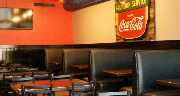 Mellow Mushroom Cartersville private downstairs room booths tables