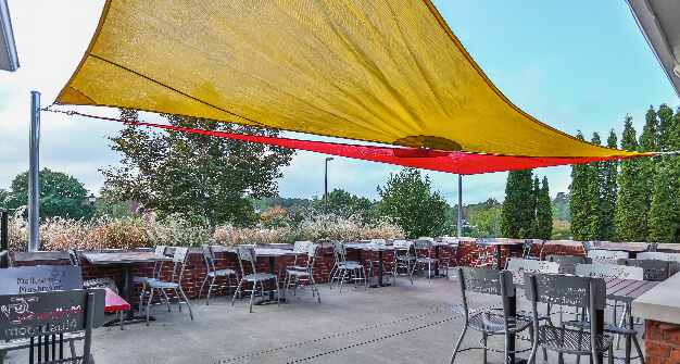 Mellow Mushroom Cary outdoor dining patio awning canopy