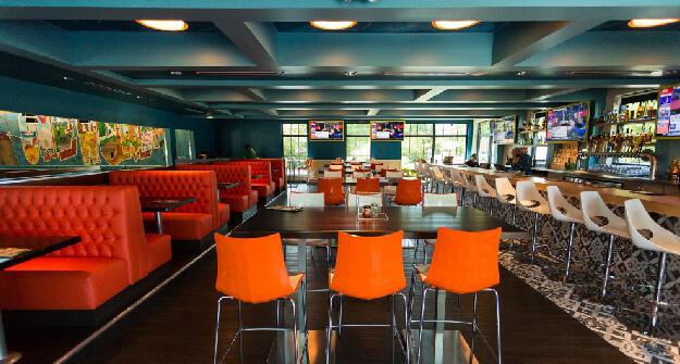 Mellow Mushroom North Charleston main dining orange high top tables
