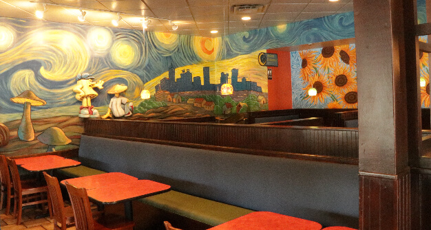 Mellow Mushroom Northlake main dining booths and van gogh mural
