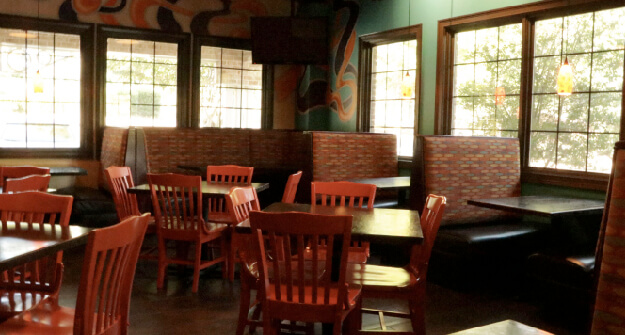 Mellow Mushroom Peachtree City front dining red chairs booths