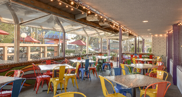 Mellow Mushroom Raleigh enclosed patio dining
