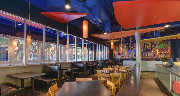 Mellow Mushroom Winston Salem main dining tables and booths