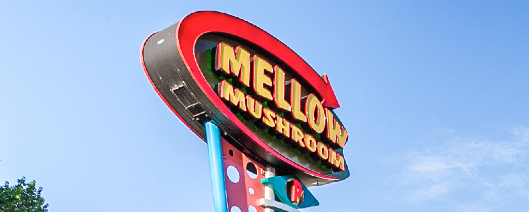 Store information Mellow Mushroom Memphis signage