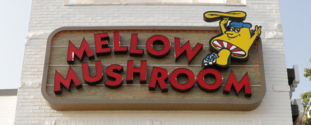 Store information Mellow Mushroom Northlake exterior signage