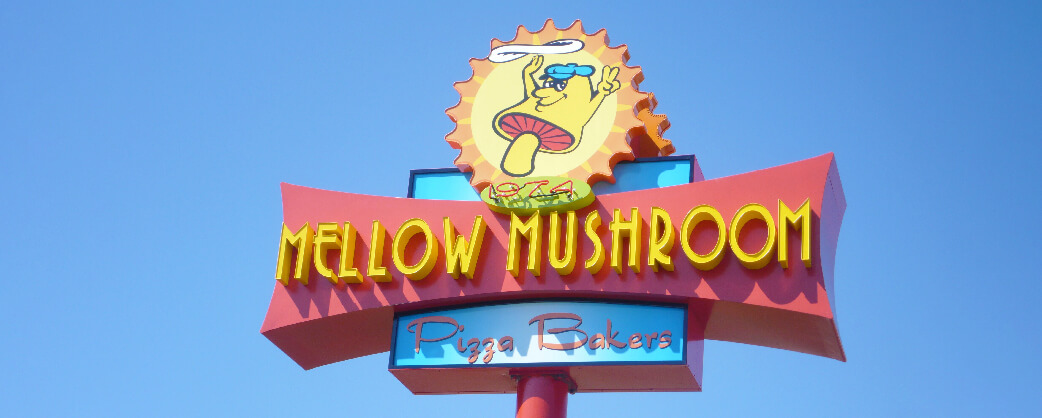 Store information Mellow Mushroom Pensacola signage