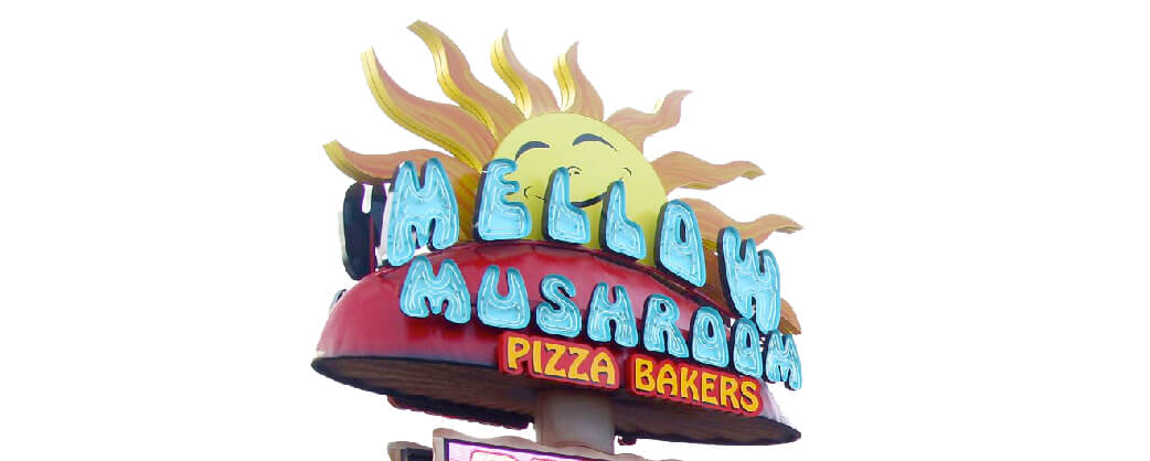 Store information Mellow Mushroom Pigeon Forge signage