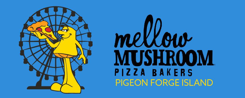 Store information ellow Mushroom Pigeon Forge Island unique logo design