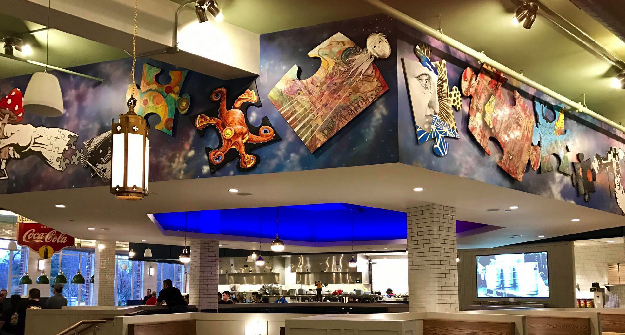 Mellow Mushroom Paducah store dining and mural ceiling