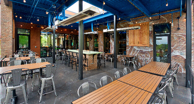 Mellow Mushroom Brier Creek exterior private space patio