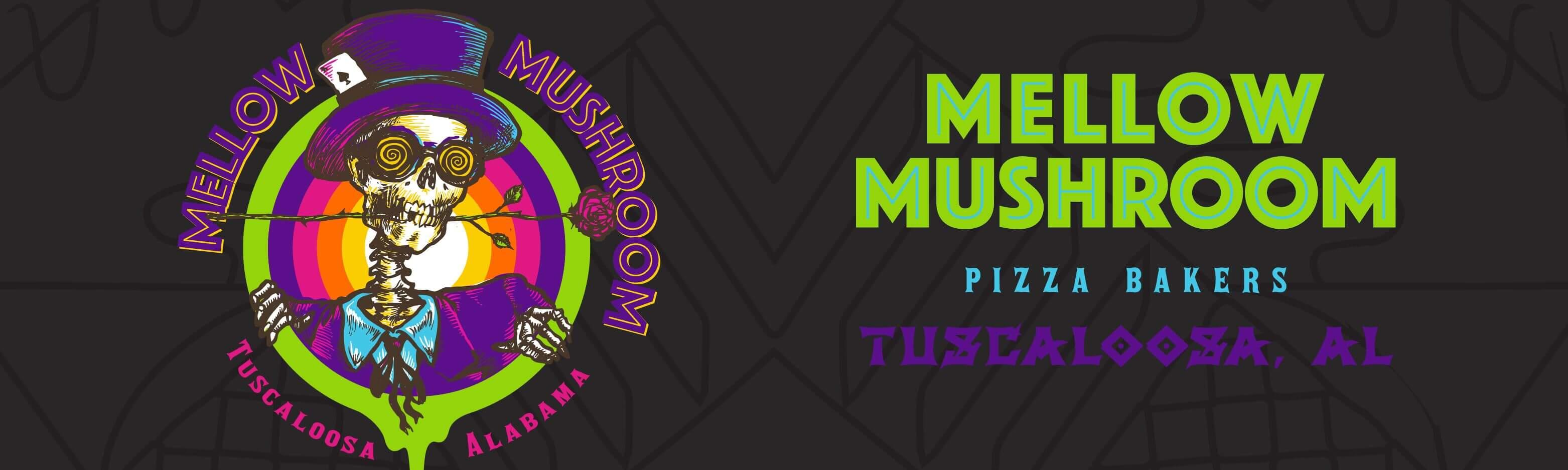 Banner Mellow Mushroom Tuscaloosa local degisn logo