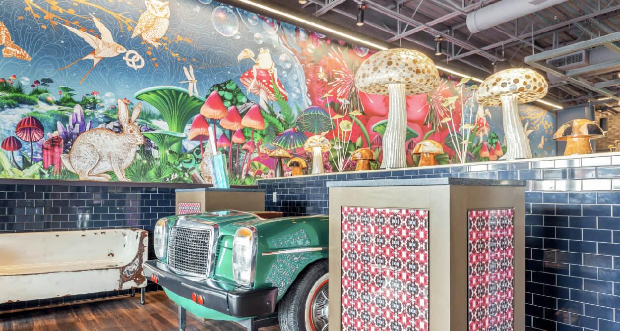 Mellow Mushroom Johnson Ferry entry host stand car mural